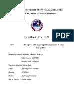 Percepción Del Transporte Público en Usuarios de Lima Metropolitana
