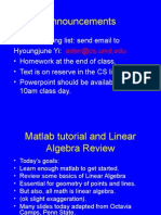 Mat Lab Tutorial and Linear Algebra Review