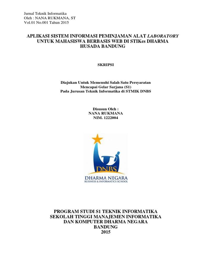 Jurnal Sistem Informasi Peminjaman Alat Laboratorium Pdf