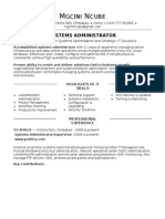 Sample Resume Systems Administrator Experienced