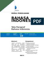 Modul 10 Tata Paragraf Bahasa Indonesia 2015