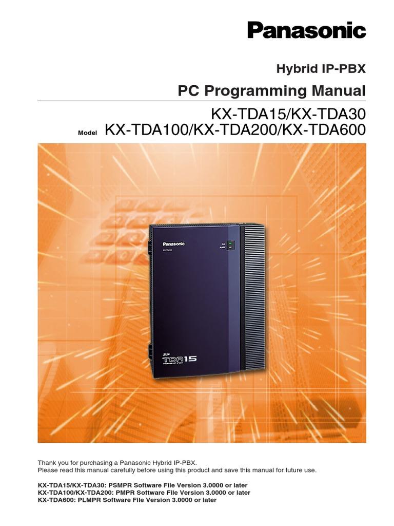 kx tda15 v3 pc programming manual public switched telephone rh scribd com panasonic kx tda200 installation manual panasonic tda200 programming manual