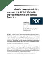 Arias Regalía y Bonan (2014) - Relevamiento de Los Contenidos Curriculares de Ciencias de La Tierra en La Formación de Profesores de Primaria de La Ciudad de Buenos Aires