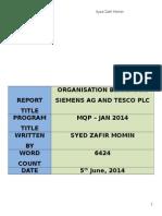 Organization Behaviour - Tesco vs Siemen