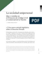 La Sociedad Unipersonal - Idas y Vendias en El Proyecto de Reforma Del Cc y c