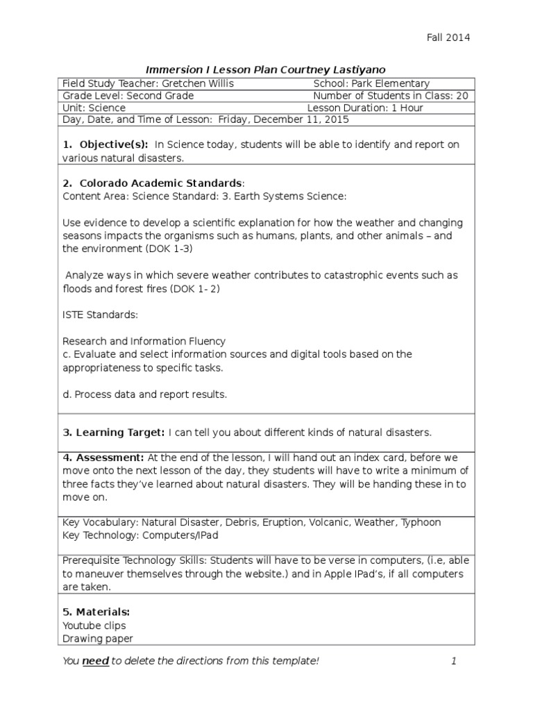 Im I Lesson Plan Template With Technology Lesson Plan Science