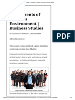 5 Major Components of Business Environment _ Business Studies
