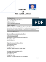RESUME of Md Sakib Ahmed