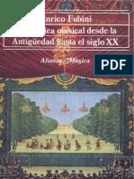 FUBINI, Enrico. La Estetica Musical Desde La Antiguedad Hasta El Siglo XX