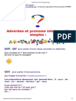 Adverbes Et Pronoms Interrogatifs Simples