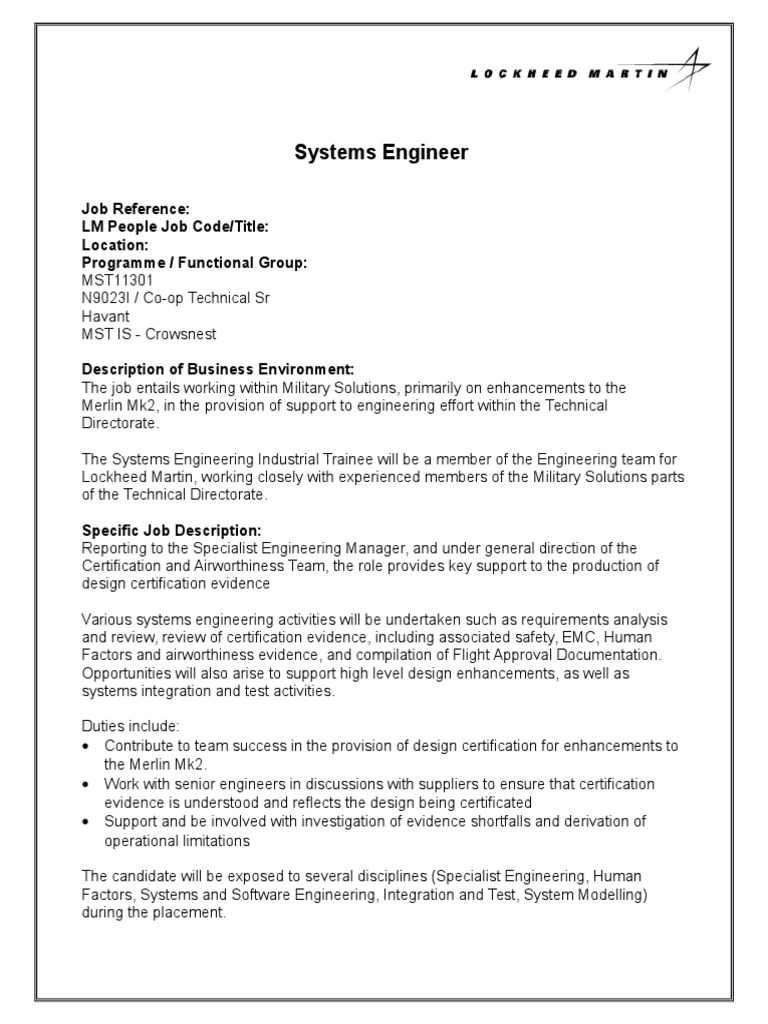 Mst11301 Systems Engineer Systems Engineering Engineering