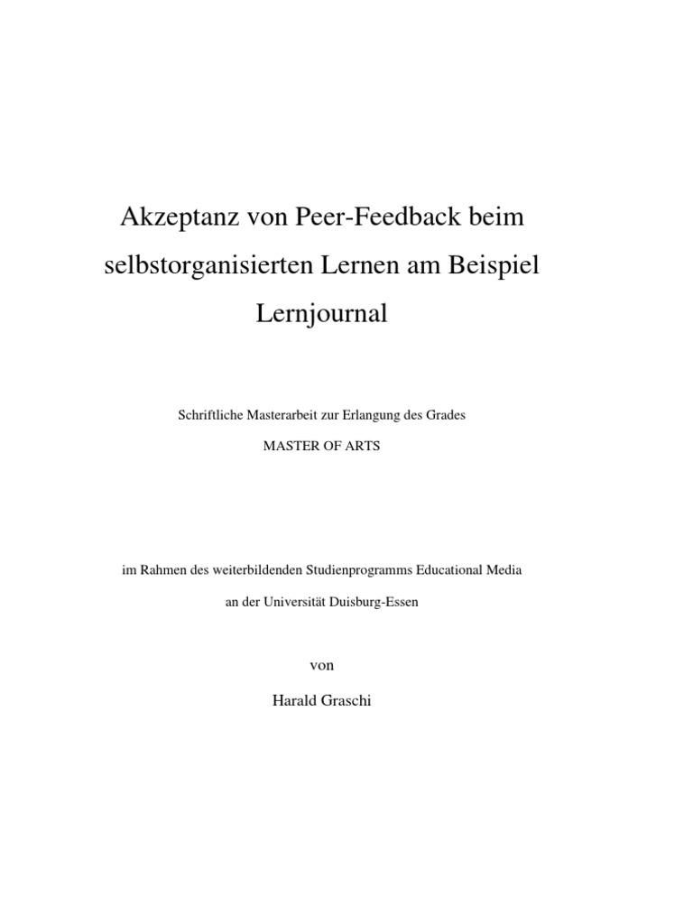 Hgraschi_Akzeptanz Von Peer-Feedback Beim SoL Am Beispiel Lernjournal