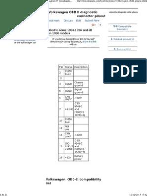 Volkswagen OBD II Diagnostic Connector Pinout Diagram ... on