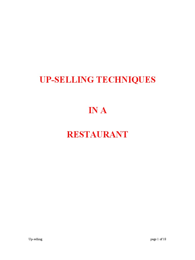 Upselling Techniques | Menu | Waiting Staff