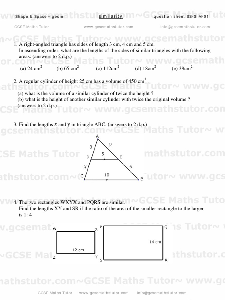 Geometry Similarity Worksheet 5th grade exponents worksheets fact ...