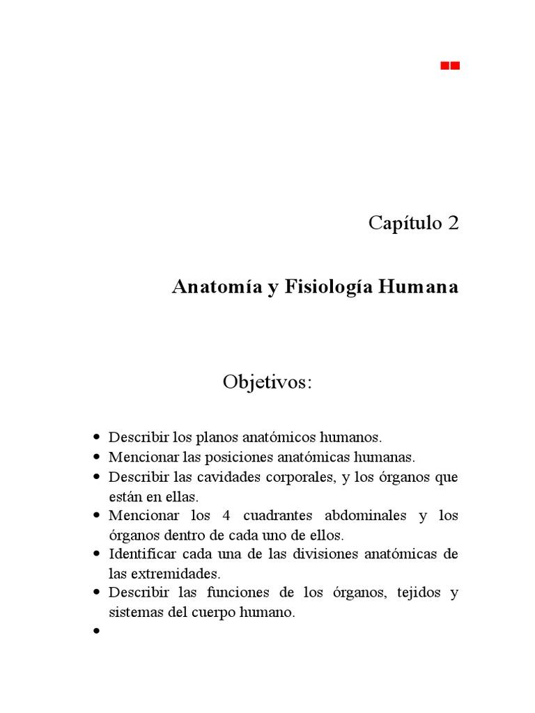Capitulo 2: Anatomia y Fisiologia Humana Basica