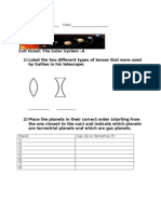 exit ticket-the solar system-version a