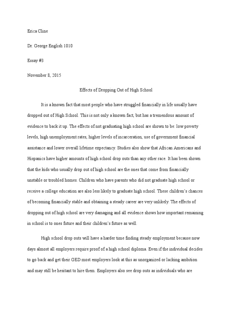 Erica Cline Essay  Drop Out Rates  High School Dropouts  Poverty