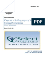 CABQ AUDIT Performance Audit Citywide Staffing Agency Vendor Contract Compliance Select Staffing 2015