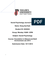 social psychology journal entry