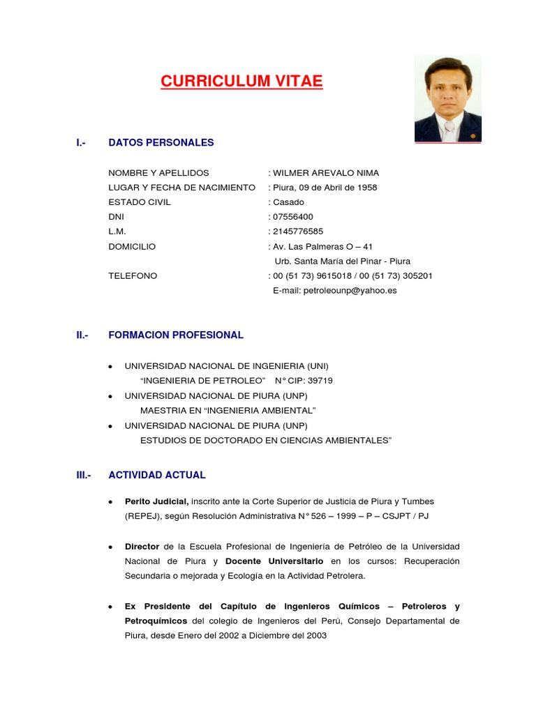 Fantástico Ingeniero Ambiental Curriculum Vitae Pdf Imágenes ...