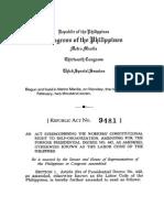 Amendment Labor Code-Labor Org