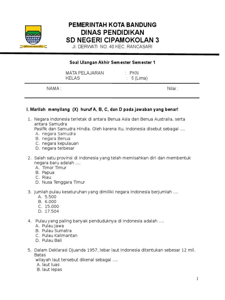 Soal Uas Pkn Kelas 5