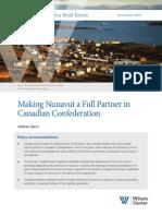 Making Nunavut a Full Partner in Canadian Confederation