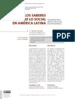 Los saberes sobre lo social en América Latina