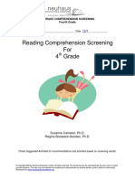 reading comprehension screening 4th grade