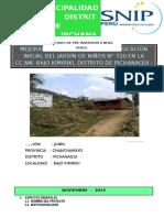 ESTUDIO DE PRE INVERSION A NIVEL DE PERFIL N° 720 Bajo Kimiriki