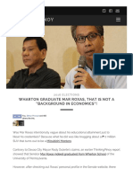 Wharton Graduate Mar Roxas, That is Not a Background in Economics