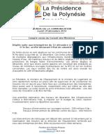 Compte Rendu Du Conseil Des Ministres - Séance Lundi 14 Décembre 2015