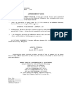 Affidavit of Loss COYOCA