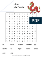 Chinese Zodiac Word Search Puzzle