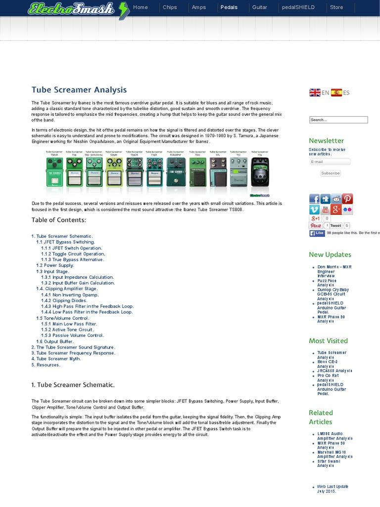 Electrosmash Tube Screamer Circuit Analysis Amplifier Jrc4558 Datasheet For Application Operational