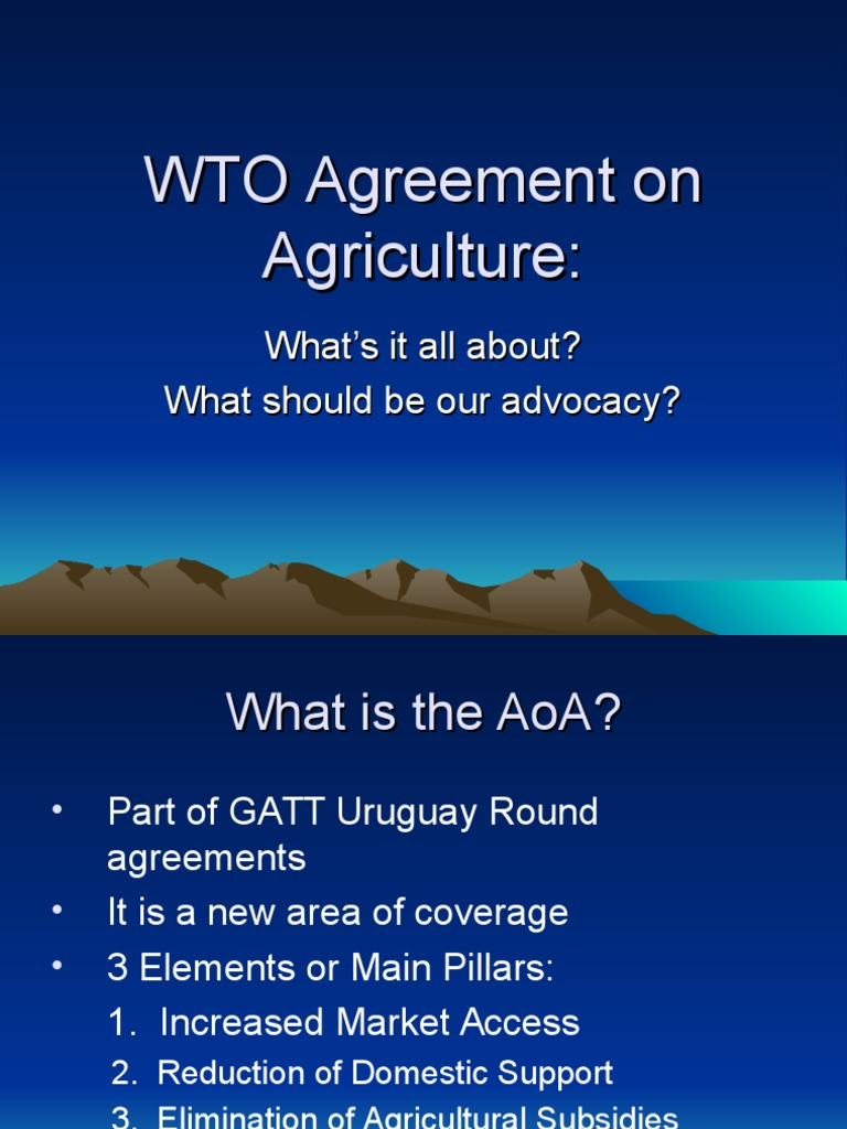 Wto Agreement On Agriculture Trade Economies