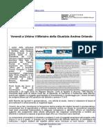Venerdì a Urbino il Ministro della Giustizia Andrea Orlando - Vivere fano.com, 14 dicembre 2015