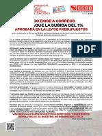2149264-Comunicado CCOO Exige a Correos La Subida Del 1%