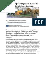 Un Camp de Migrants Et de SDF Au Bord Du Bois de Boulogne