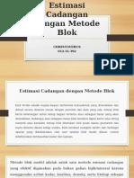 Estimasi Cadangan Dengan Metode Blok