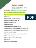 Tamil Songs Karaoke List