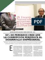 98% de los peruanos cree que la corrupción perjudica al desarrollo empresarial