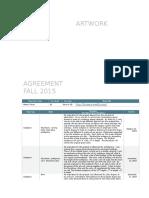 artist agreement fall 2015