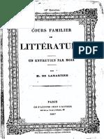 M.de Lamartine - Cours Familier de Littérature - Entretien 18