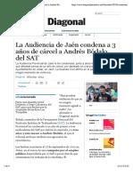 La Audiencia de Jaén condena a 3 años de cárcel a Andrés Bódalo, del SAT   Periódico Diagonal