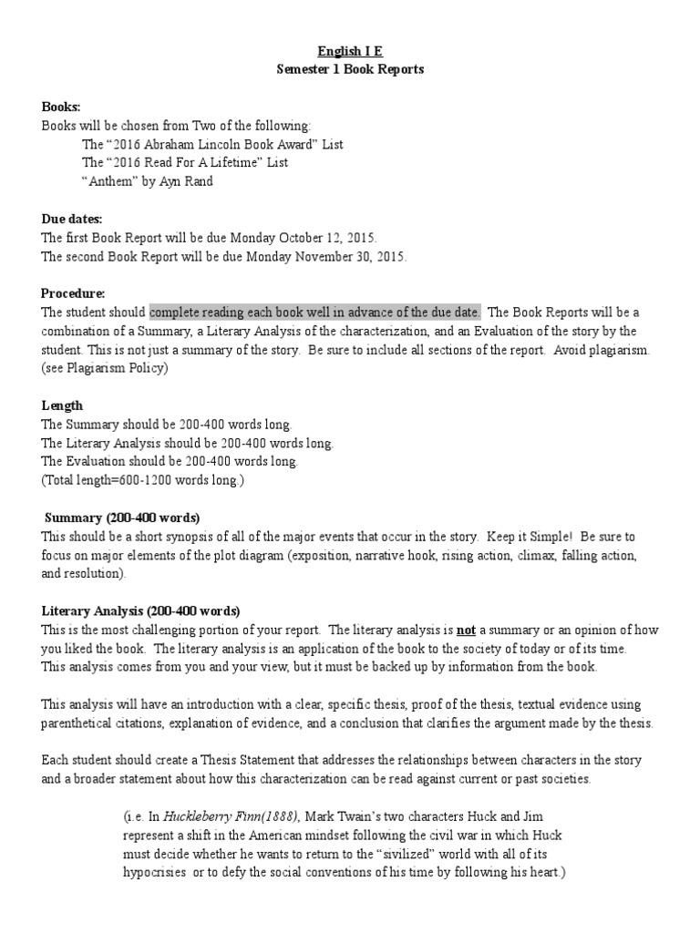 Huckleberry finn book report