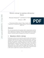 Relative Entropy in Quantum Information Theory