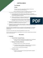 Job Description - Operations Manager