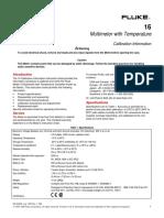 FLUKE 16 Calibration Information